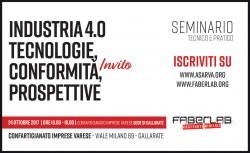 Seminario tecnico-pratico - Industria 4.0: tecnologie, conformità, prospettive @ Sale Convegni | Gallarate | Lombardia | Italia