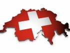3D outline of Switzerland with flag