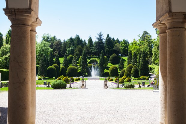 Garden with fountain of palace Palazzo Estense